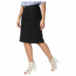 Krisp  Panelled Plus A-Line Denim Skirt [Black ]  women's Skirt in Black