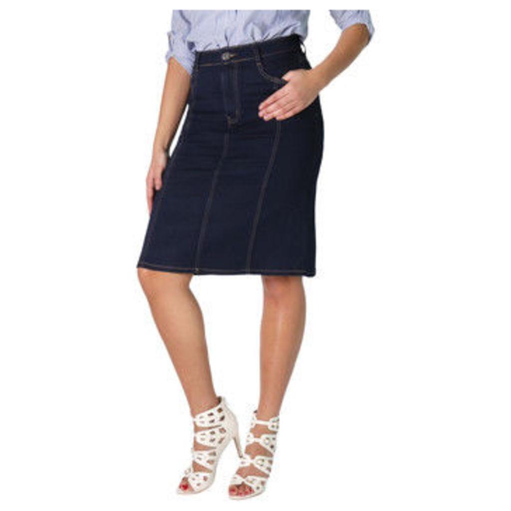 Krisp  Panelled Plus A-Line Denim Skirt [Navy ]  women's Skirt in Blue