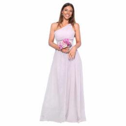 Krisp  One Shoulder Maxi Prom Dress  [Beige]  women's Long Dress in Beige