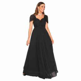 Krisp  Cross Pleats Maxi Prom Dress [Black]  women's Long Dress in Black