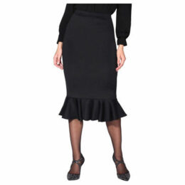Krisp  Pencil Fishtail Midi Skirt [Black]  women's Skirt in Black