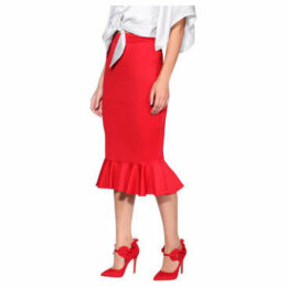 Krisp  Pencil Fishtail Midi Skirt [Red]  women's Skirt in Red