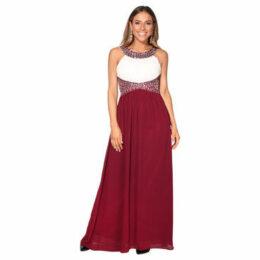 Krisp  Contrast Diamante Prom Maxi Dress [White/Wine]  women's Long Dress in Red