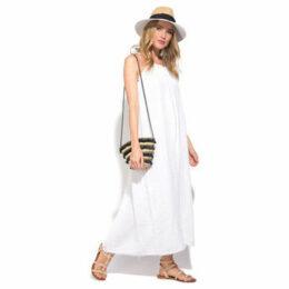 100 % Lin  Dress  women's Long Dress in White