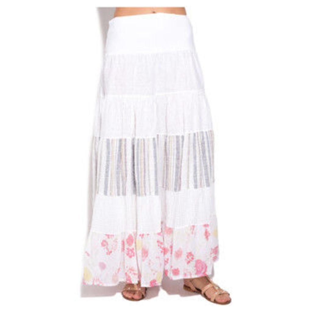 100 % Lin  Skirt  women's Skirt in White