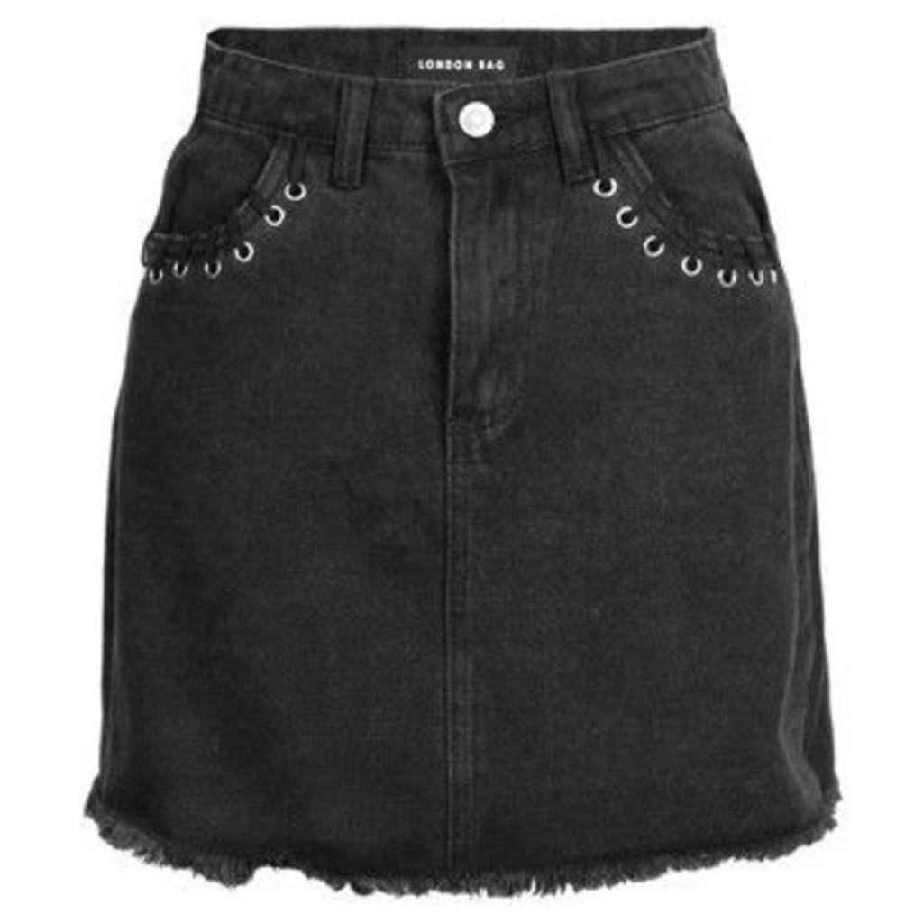 London Rag  Women's Black Belt Loops Skater Skirts  women's Skirt in Black