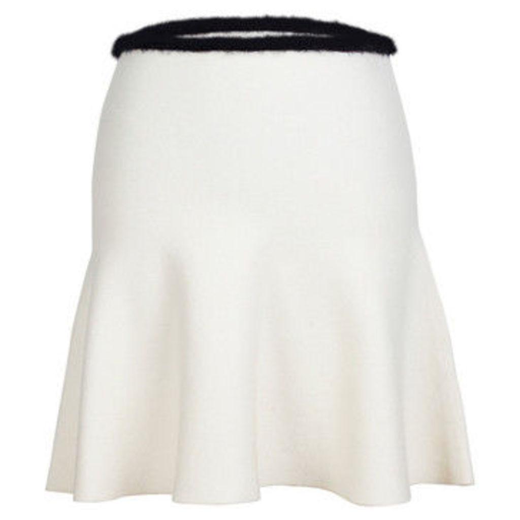 London Rag  Women's White Contrast waist line  Skater Skirts  women's Skirt in White
