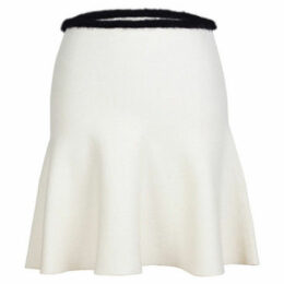 London Rag  Women's White Contrast waist line  Skater Skirts  women's Skirt in White