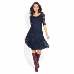 Yours Paris  Long sleeve lace dress  women's Dress in Blue