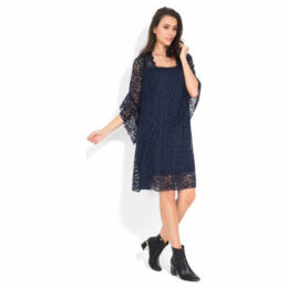 Yours Paris  Flared dress 3/4 sleeves  women's Dress in Blue