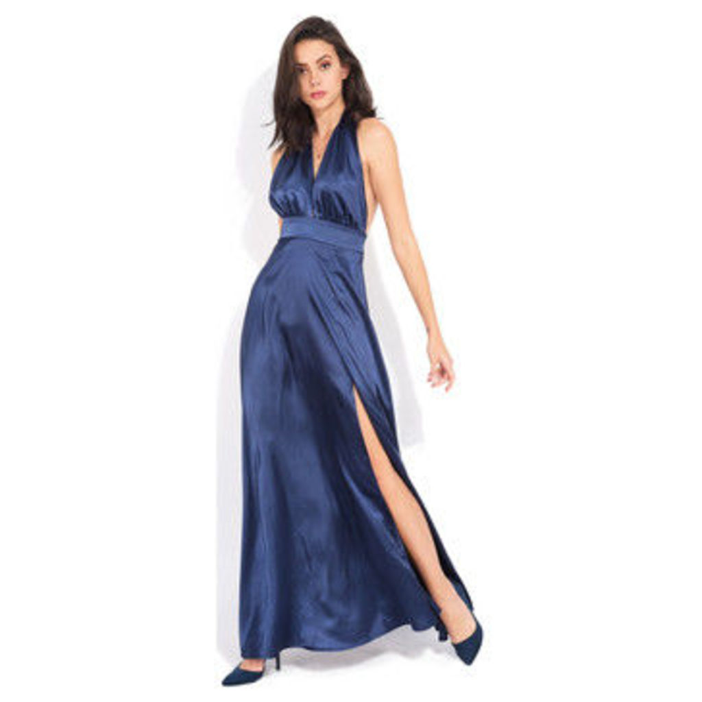 Yours Paris  Long satin effect dress  women's Long Dress in Blue
