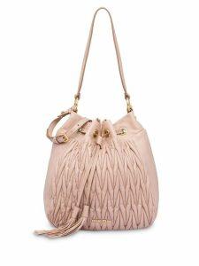 Miu Miu Matelassé leather bucket bag - Neutrals
