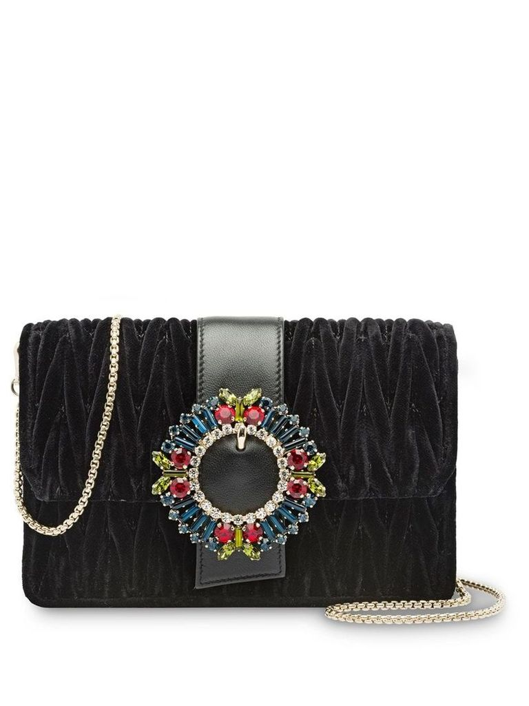 Miu Miu Matelassé velvet shoulder bag - Black