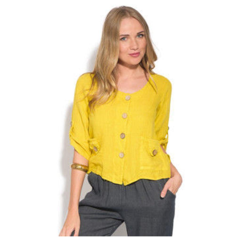 100 % Lin  Cardigan  women's Blouse in Yellow