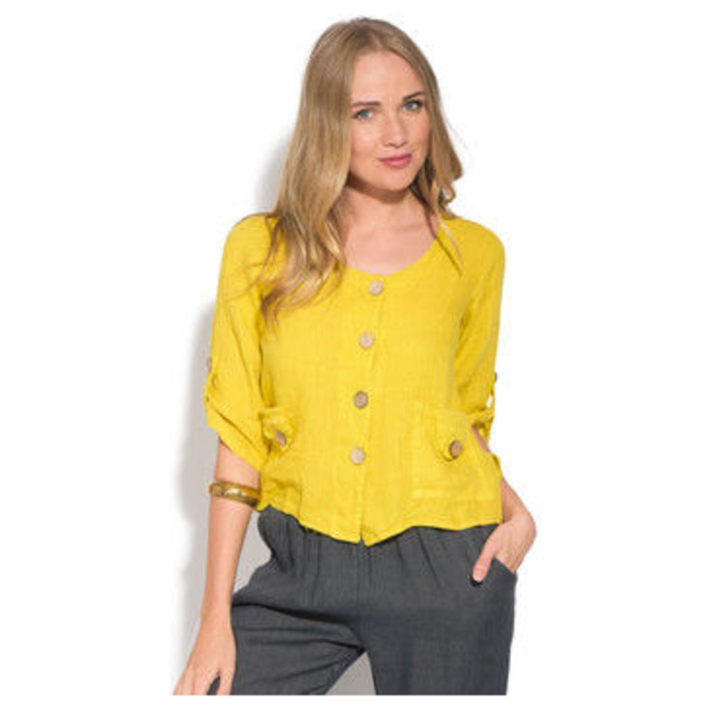 100 % Lin  Cardigan  women's Blouse in Yellow