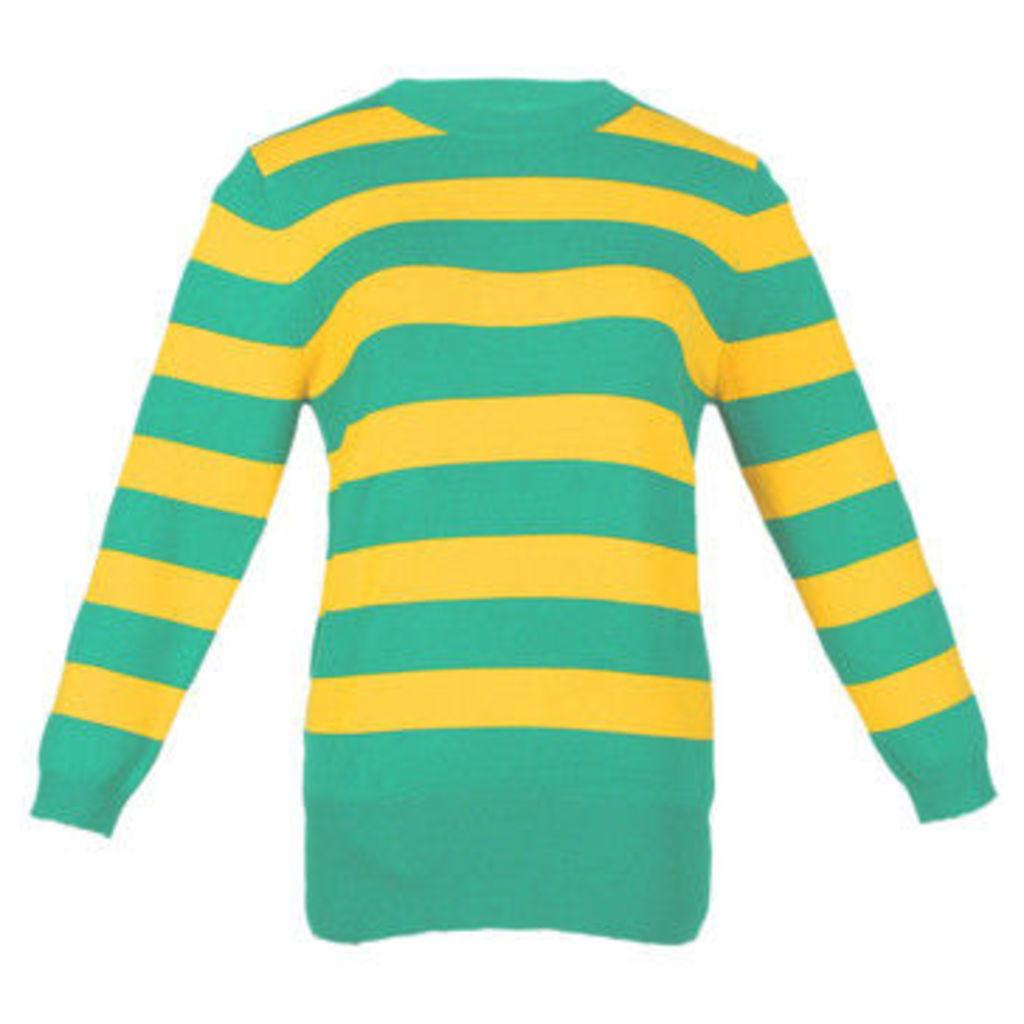 London Rag  Women's Mango Ribbed cuffs   HEM Sweatshirt  women's Sweatshirt in Yellow