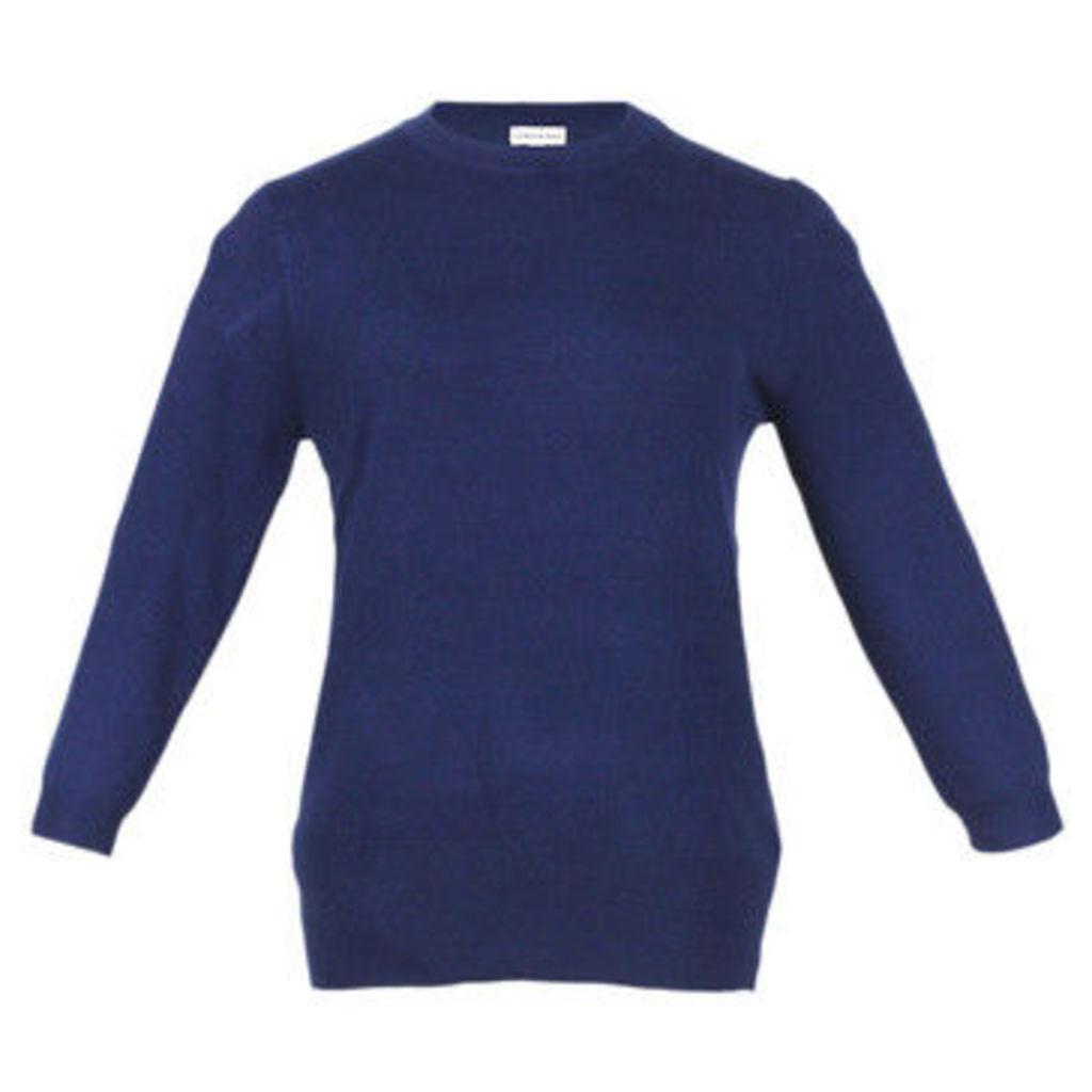 London Rag  Women's Navy Ribbed cuffs   HEM Sweatshirt  women's Sweater in Blue