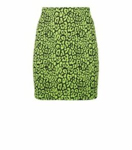 Green Neon Leopard Print Tube Skirt New Look