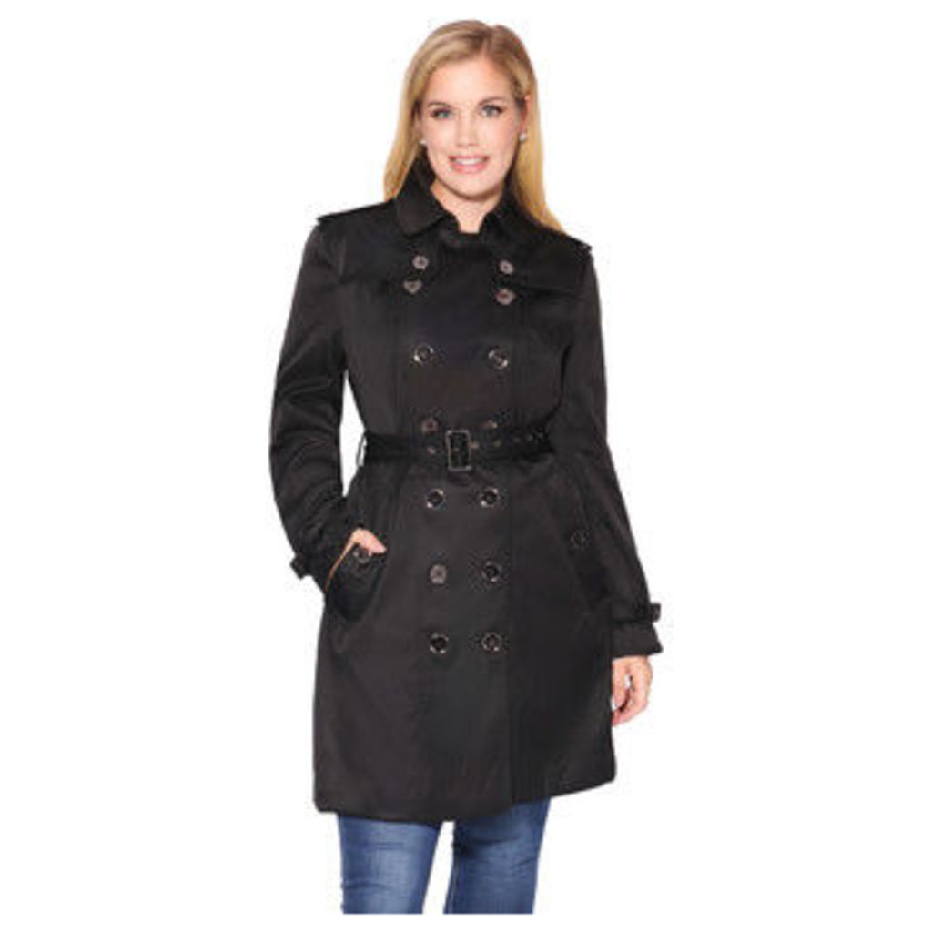 Krisp  Metallic Button Short Trench Coat [Black ]  women's Coat in Black