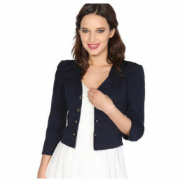 Krisp  Ruched Sleeve Military Style Shrug [Navy]  women's Jacket in Blue