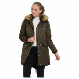 Cm  Mid-length parka with hood  women's Parka in Green