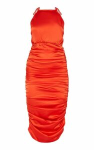 Red Ruched Satin Midaxi Dress, Red