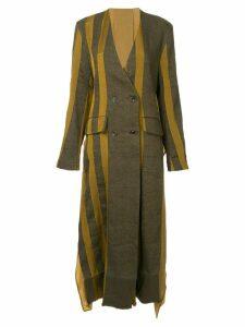 Uma Wang stripe double breasted coat - Multicolour