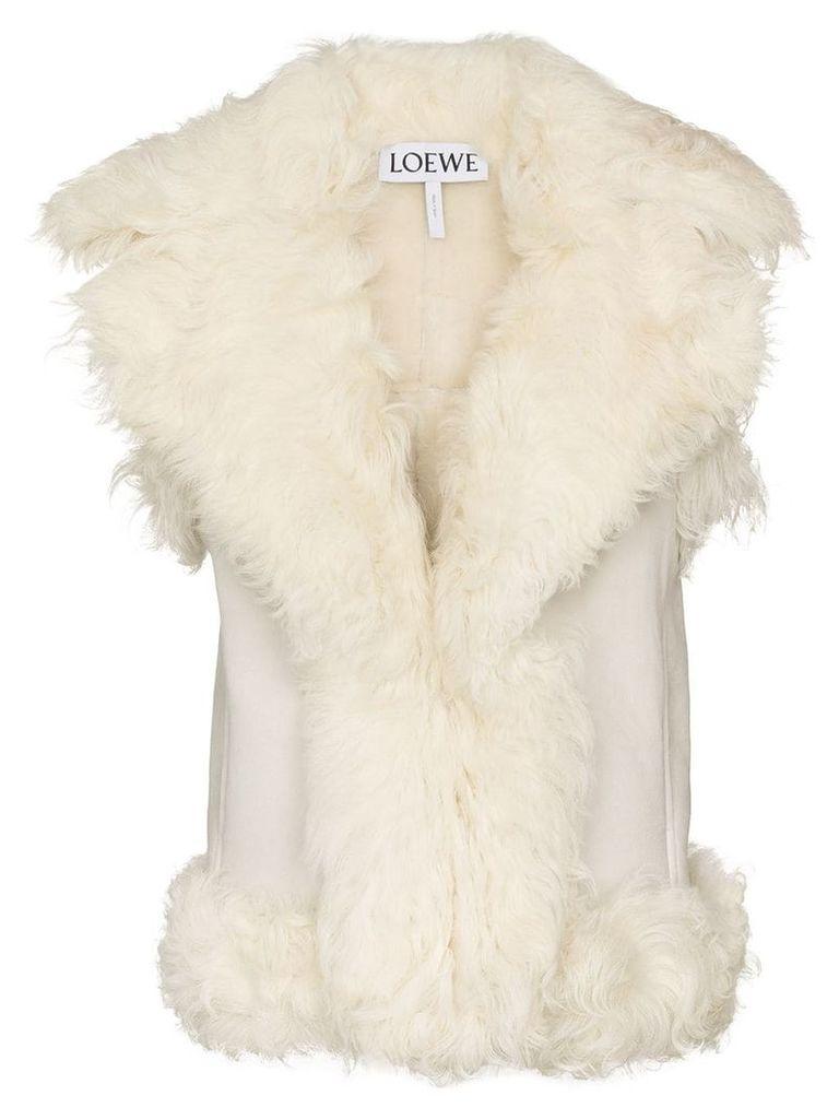 Loewe sleeveless shearling gilet coat - White