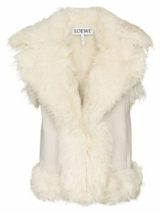 Loewe sleeveless shearling gilet coat - White