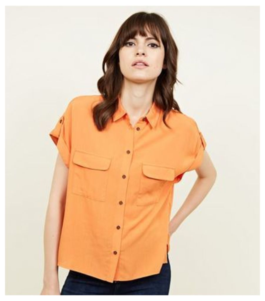 Orange Neon Pocket Front Short Sleeve Shirt New Look