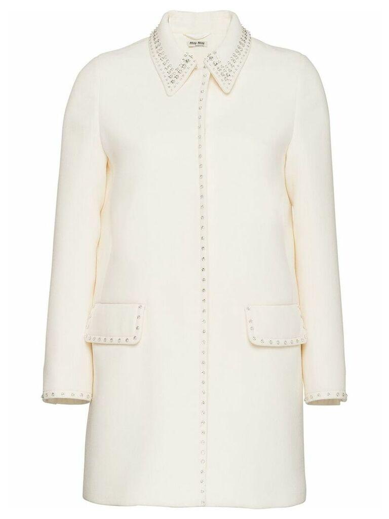 Miu Miu natté crepe coat - White