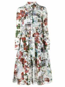 Erdem floral printed shirt dress - White