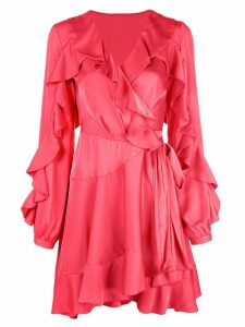 Patbo ruffle sleeve wrap dress - Red