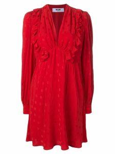 MSGM ruffled polka dot dress - Red