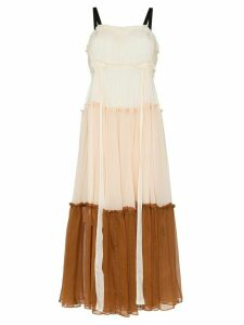 Lee Mathews Celia belted silk midi dress - Neutrals
