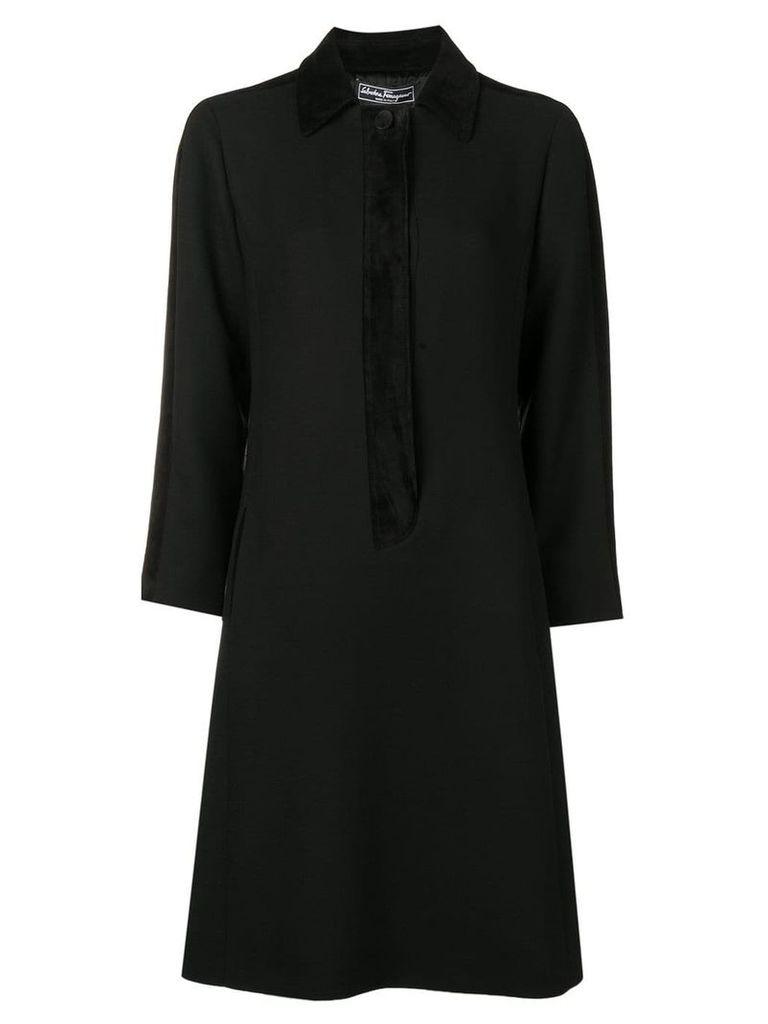 Salvatore Ferragamo tone on tone coat dress - Black
