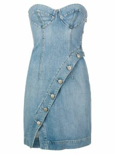 Jean Atelier strapless fitted denim dress - Blue
