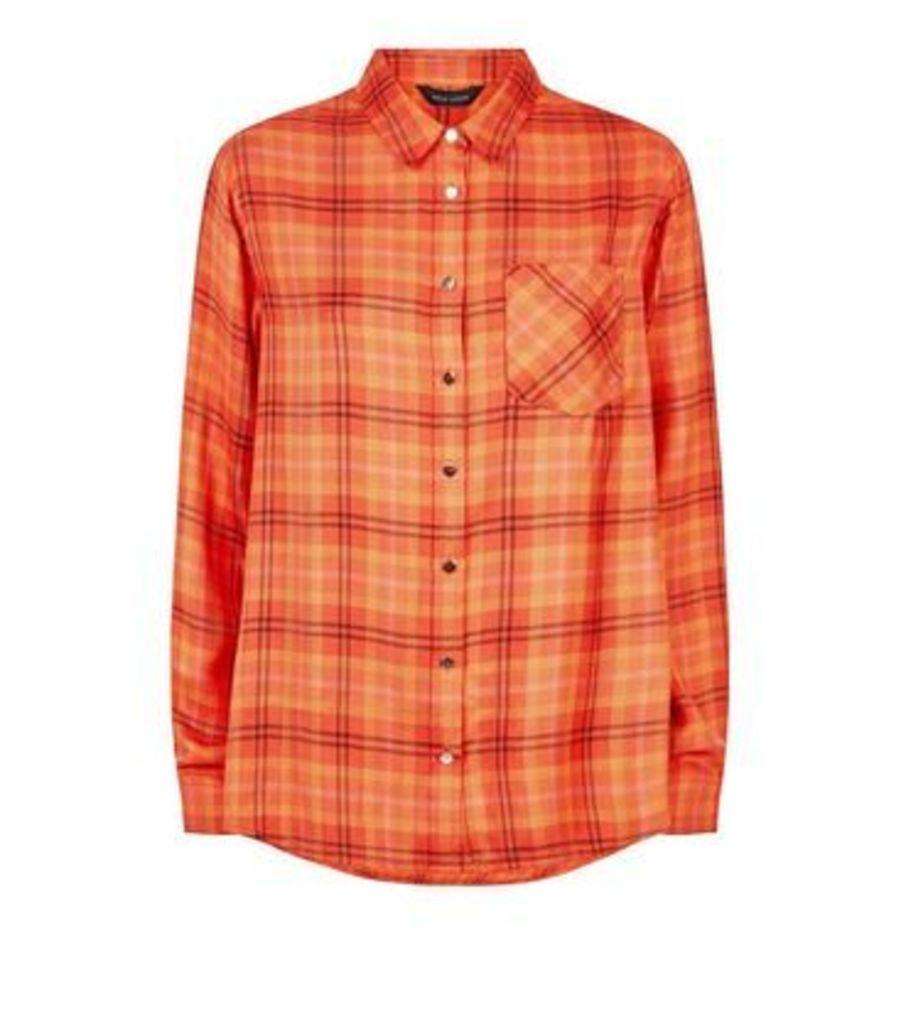 Orange Neon Check Print Herringbone Shirt New Look