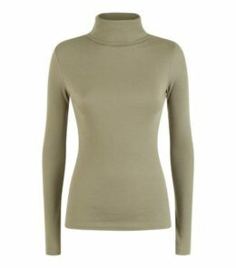 Khaki Ribbed Roll Neck Top New Look