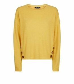 Mustard Brushed Rib Button Hem Jumper New Look
