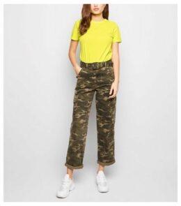 Yellow Neon Organic Cotton Roll Sleeve T-Shirt New Look