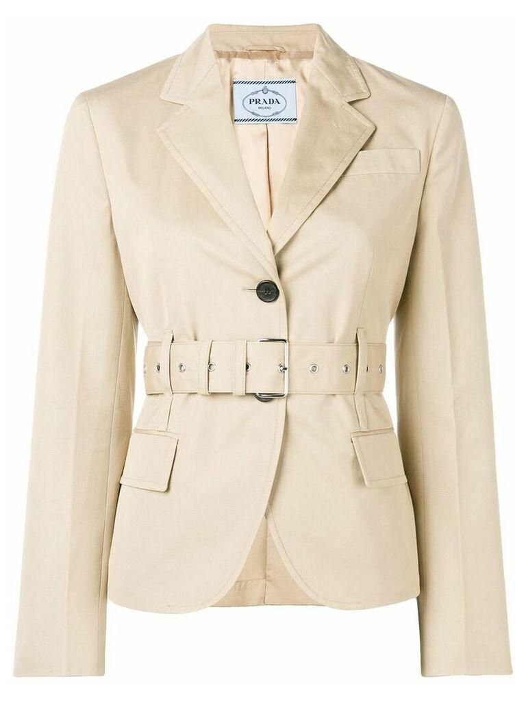 Prada fitted belted jacket - Neutrals