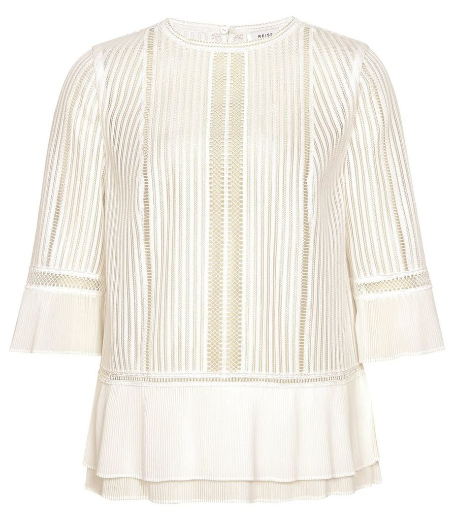 Reiss Erika - Lace Peplum Top in Ivory, Womens, Size 14