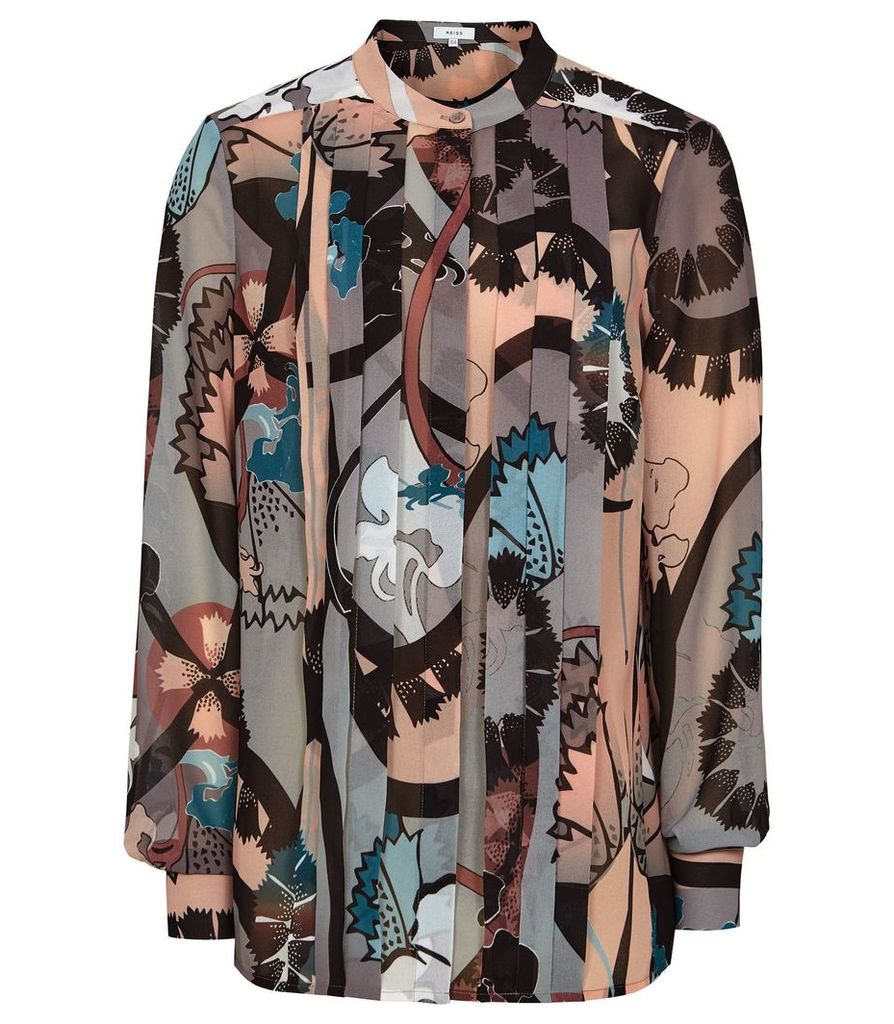 Reiss Lia - Floral Printed Blouse in Multi, Womens, Size 14