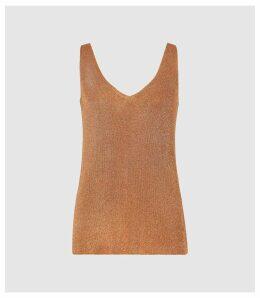 Reiss Agata - Metallic Knitted Top in Bronze, Womens, Size XXL
