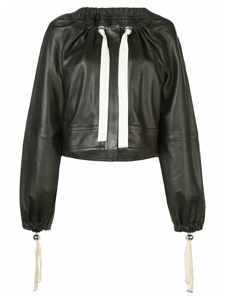 Yigal Azrouel ruched neck leather jacket - Black