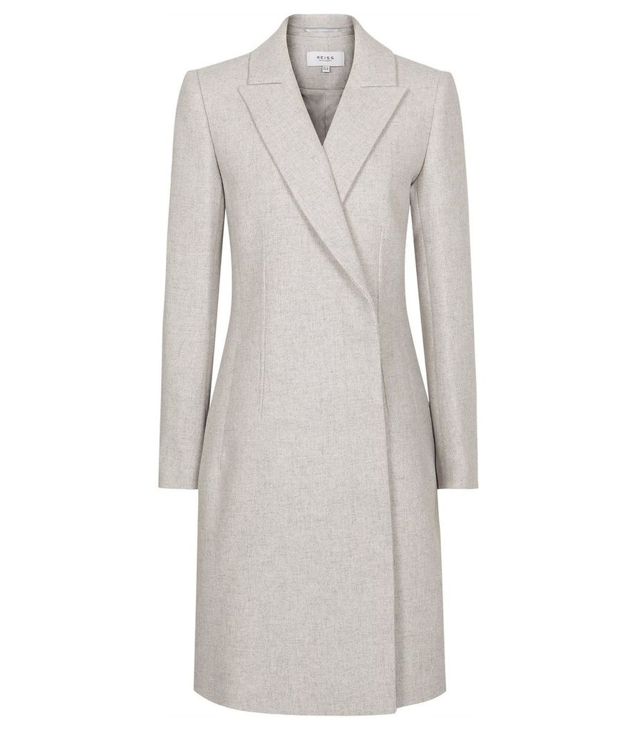 Reiss Santhia - Wool Blend Double Breasted Coat in Grey Melange, Womens, Size 14