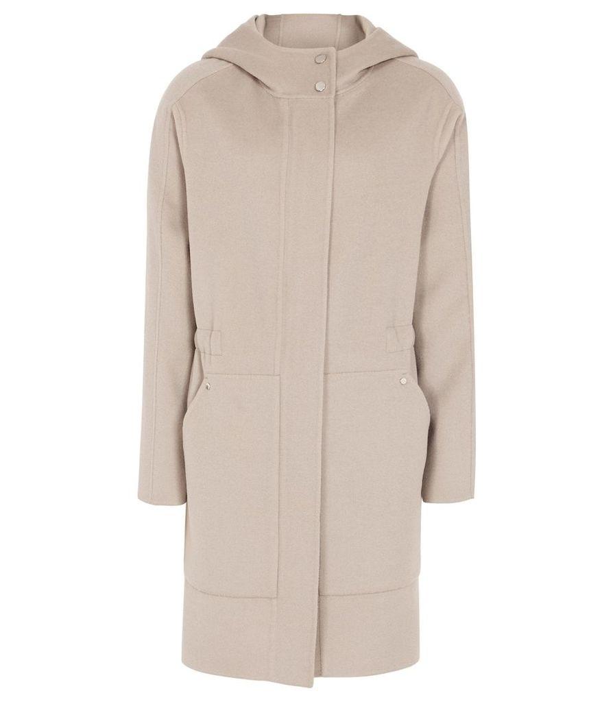Reiss Delaney - Wool Blend Hooded Coat in Stone, Womens, Size 14