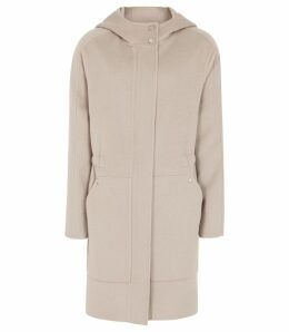 Reiss Delaney - Wool Blend Hooded Coat in Stone, Womens, Size 14