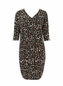 **Brown Animal Printed Tulip Dress, Beige/Natural